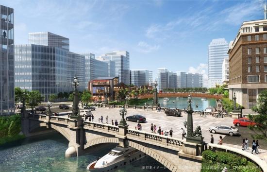 (図1)将来の日本橋のイメージ。日本橋越しに江戸橋方向を見渡す(2019年8月時点。実際の開発計画とは異なる)(画像提供:三井不動産)