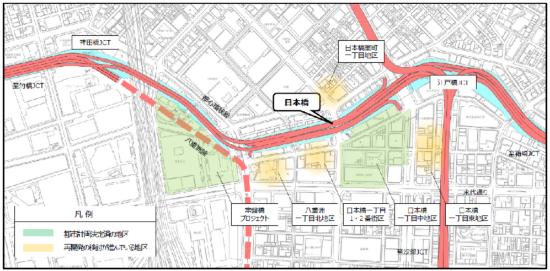 (図5)日本橋川沿いでは、日本橋一丁目中地区をはじめ5つの地区で市街地再開発準備組合が立ち上がり、民間再開発事業が計画されている(2018年5月時点)。2019年10月には、八重洲一丁目北地区、日本橋室町一丁目地区でも都市計画決定が済んだ(出所:首都高日本橋地下化検討会資料)