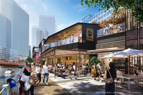 (図6)日本橋川沿いには民間再開発事業によって低層・低容積の店舗ビルやプロムナードが整備され、開放的で快適な空間が生み出される見通しだ(2019年8月時点。将来イメージで実際の開発計画とは異なる)(画像提供:三井不動産)