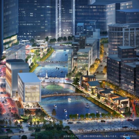 (図7)江戸橋上空から日本橋方面を見渡す。日本橋川沿いの民間再開発事業によって整備されるプロムナードは画面奥の東京駅方面まで続く見込み(2019年8月時点。将来イメージで実際の開発計画とは異なる)(画像提供:三井不動産)