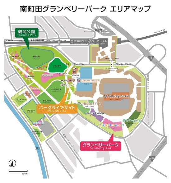 (図1)南町田グランベリーパークの見取り図。「グランベリーパーク」「鶴間公園」「パークライフ・サイト」という3つのゾーンで構成されている(資料提供:町田市・東急)