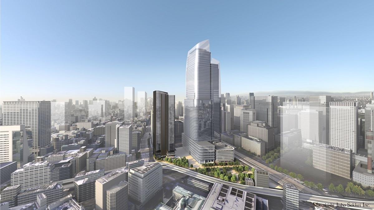 (図5)街区全体を日本橋側から見た東京駅前常盤橋プロジェクトの完成イメージ。中央の超高層ビルが「日本一の高さ約390m」をうたう(画像提供:三菱地所)