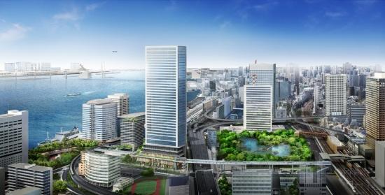 (図1)「東京ポートシティ竹芝」周辺のイメージパース。正面の超高層ビルが、地上40階建てのオフィスタワー。そのすぐ左が、地上18階建てのレジデンスタワー。右手のJR浜松町駅との間は、歩行者デッキで結ばれる(画像提供:東急不動産)