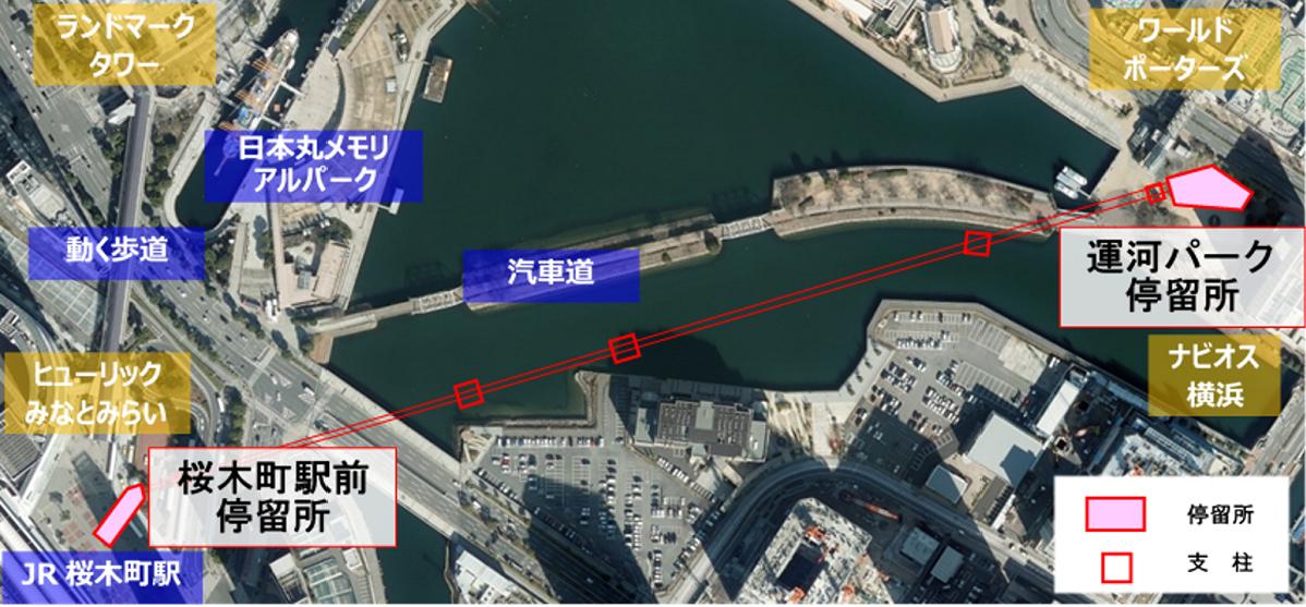 (図1)施設名称は「YOKOHAMA AIR CABIN(仮称)」。停留所は、JR桜木町駅前と運河パーク内の2カ所に設置する。ロープウエーのルートは直線にならざるを得ないため、この2点間を結ぶ直線上で、水上交通の安全確保や周辺施設からの景観にも配慮し、海上に立てる3本の支柱の位置を決めた(資料提供:横浜市、筆者が一部加工)