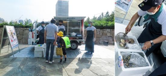 (写真3)今年6月、東京・有明でトライアル営業に踏み切った「お魚販売モビリティ」。販売事業には老舗仲卸業者である泉久食品(東京都中央区)が乗り出す(画像提供:Mellow)