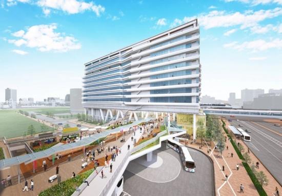 (図1)清水建設が東京・豊洲で開発中の都市型「道の駅」完成予想CG。都市型として、交通拠点機能、災害対応機能、にぎわい創出機能が加わる。完成予想CGは計画段階のもので、実際とは異なる(画像提供:清水建設)