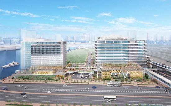 (図3)開発プロジェクト全体の完成予想CG。交通広場をはさんで右にオフィス棟、左にホテル棟。2階に歩行者用デッキを整備し、右手の新交通ゆりかもめ「市場前」駅、オフィス棟、交通広場上のデッキ、ホテル棟、左手の晴海運河沿いの水辺空間をつなげる。完成予想CGは計画段階のもので、実際とは異なる(画像提供:清水建設)