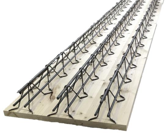 (写真2)「(仮称)配筋付型枠」。あらかじめ配筋を施した板材を、型枠兼天井仕上げ材として用いる。約3分の2の配筋を工場で済ませておくため、現場作業の負担を軽くできる(画像提供:三菱地所)
