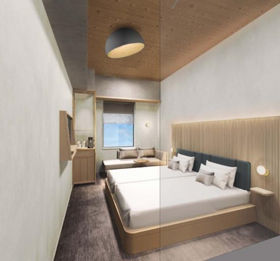 (図3)地上3~7階までの鉄筋コンクリート造階の客室内イメージパース。天井には「(仮称)配筋付型枠」を用いるため、その仕上げには木部が現れる(資料提供:三菱地所)