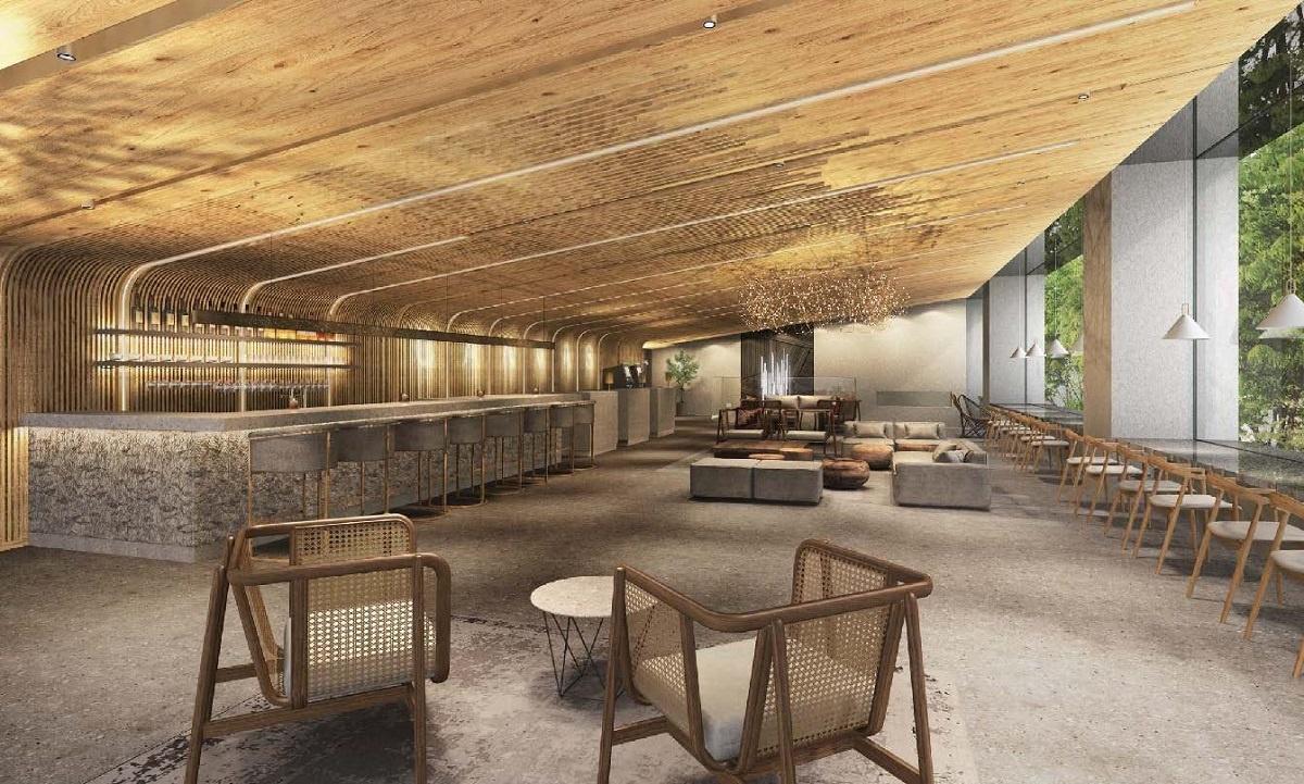 (図4)ホテルロビー内装イメージパース。北海道産の木材をふんだんに用いて自然の温もりに包まれた空間を実現する計画だ(資料提供:三菱地所)
