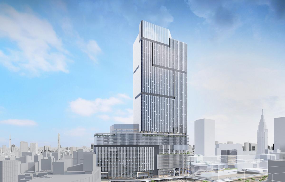 (図1)計画建物を新宿駅西口側から見たときのイメージパース。駅と一体化した地上48階建ての超高層ビルはひときわ目立つ。基本設計は日本設計(資料提供:小田急電鉄、東京地下鉄)