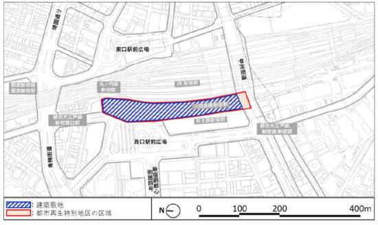 (図2)計画建物の敷地はJR新宿駅と京王線新宿駅に挟まれた帯状の一帯。小田急線新宿駅や東京メトロ丸ノ内線新宿駅と一体的に開発される(資料提供:小田急電鉄、東京地下鉄)