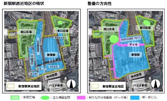 (図6)新宿駅直近地区は駅東西にまたがる10.1haの区域。土地区画整理事業によって、JR線路上空をまたぎ、駅東西を結ぶデッキなど、新たな歩行者動線を整備するほか、東西の広場に滞留空間を確保することで、人中心の広場に再構成する(出典:東京都・新宿区「新宿駅直近地区に係る都市計画案について」2019年9月)