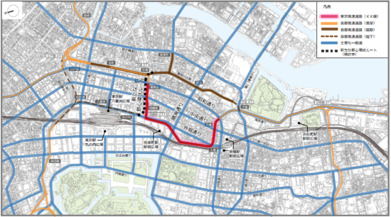 (図1)KK線周辺の道路インフラ。北側では首都高速道路日本橋区間地下化事業が進められている。それに伴い、「新たな都心環状ルート」を整備する方向で検討されるようになったことから、KK線既存施設のあり方検討を前に進められるようになった(出典:「東京高速道路(KK線)の既存施設のあり方検討会提言書」(2020年11月))