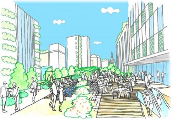 (図6)提言書の中で「目指すべき将来像」の一つとして示された緑のネットワークのイメージ図の一つ。「みどりと潤いを感じる憩いの空間」を表している(出典:「東京高速道路(KK線)の既存施設のあり方検討会提言書」(2020年11月))