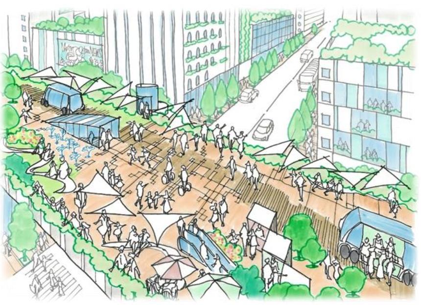 (図8)提言書の中で「目指すべき将来像」の一つとして示された地域の価値や魅力の向上のイメージ図の一つ。「まちを俯瞰して楽しめる視点場の魅力」を表している(出典:「東京高速道路(KK線)の既存施設のあり方検討会提言書」(2020年11月))