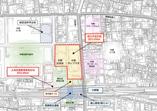 (図3)拠点施設を整備する法定再開発の施行予定区域。JR中野駅の西側には線路上に駅ビルを兼ねた橋上駅舎が整備され、図中「西側南北通路」に面して西口改札が新設される。この通路の南北には駅前広場が整備されるほか、北側はさらに歩行者デッキを通じて施工予定区域内の拠点施設と直結することになる(資料提供:野村不動産)