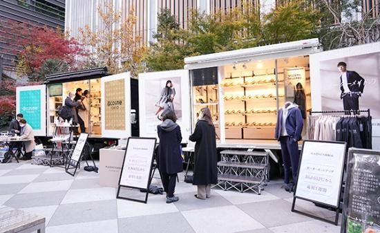 東京都中央区日本橋の「福徳の森」にて展開された「移動商業店舗」のトライアルの様子(写真提供:三井不動産)