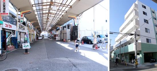 神戸市長田区にある昔懐かしい雰囲気の六軒通商店街。その先に「はっぴーの家ろっけん」のビルが建つ。人の出入りがあるので公共コミュニティ施設のようにも見えるが、看板らしきものは一切ない(写真撮影:中島有里子)