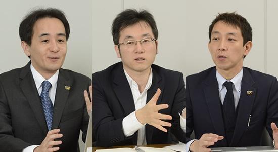 メガホンヤクの開発に関わったパナソニック AVCネットワークス社イノベーションセンター 無線ソリューション開発部の担当者。左から、菅原雅仁氏、田中和之氏、竹井良彦氏。