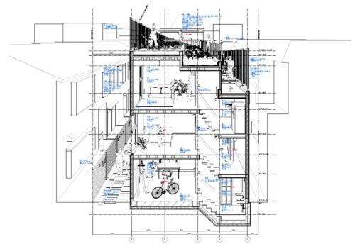 「菜園長屋」の断面の透視図。屋上にある菜園は段々畑をイメージしている(提供:吉村靖孝建築設計事務所)