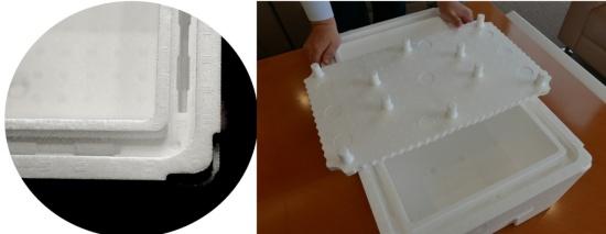 日本通運が積水化成品工業と協同で開発した「Flying Fish Box/飛び箱」。何の変哲もない発砲スチロール製容器に見えるが、側壁を中空にしたり、底面に仕切り材を入れたりと断熱性を高める工夫を様々に凝らしている(写真上と左下:日本通運提供、右下:高山和良)
