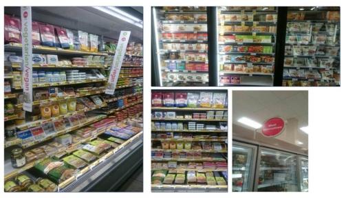 米国やヨーロッパの食品スーパーで見られる肉代替商品、乳代替商品の棚・コーナー。多くは冷蔵もしくは冷凍食品のコーナーにある。(資料提供:大塚食品)