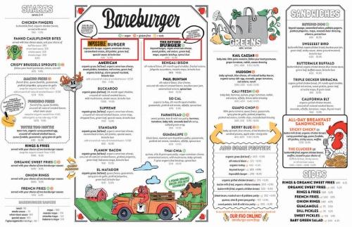 ニューヨークを中心に店舗を展開するオーガニック・ハンバーガーチェーン「ベアバーガー」(Bareburger)の最新メニュー。肉代替のインポッシブル・バーガー(左の赤枠)とビヨンド・バーガー(右の赤枠)はメニューの上方に並んで掲載されている。ベアバーガーも既に東京(銀座と自由が丘)に出店しているが、2019年2月15日現在、これら植物由来の2つのバーガーやパテはメニューに載っていない。(メニュー画像提供:米Bareburger)
