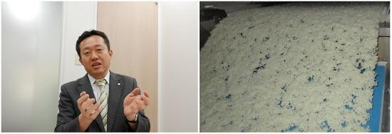 尾西食品 商品開発部部長 伊藤 秀朗(いとう ひであき)氏(写真左、撮影:高山 和良)。乾燥させる前のご飯を炊き上げた状態。これを乾燥後、均一に砕く工程が一つのノウハウだという(写真右、提供:尾西食品)