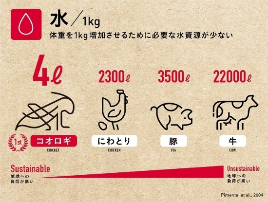 体重を1キロ増加させるために必要な水資源の比較(出所:グリラス・ホームページ)
