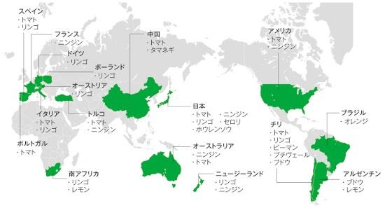 グローバルに広がるカゴメグループの原料調達先。東西・南北と調達リスクを分散した産地構成になっている。(資料提供:カゴメ)