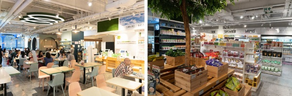 (左)一流企業が集まるオフィス街にあるビーガンカフェ「Kind Kitchen」は、常に近隣で勤める会社員や家族連れで賑わう。サラダ、餃子、パスタ、ラーメンなど気軽に食べられるメニューをすべてビーガンで作っている(写真:甲斐美也子)。(右)Green Monday社のショップ「Green Common」。世界中から厳選された食品の他に、化粧品や日用品もあり。最近ではオンラインショップの人気も高まっている(写真:甲斐美也子)