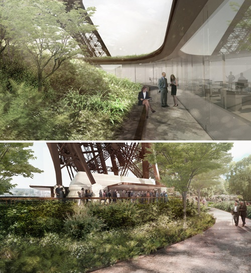 エッフェル塔の足元は、緑の溢れる広々とした庭に生まれ変わる(写真提供:Chartier-Corbasson)