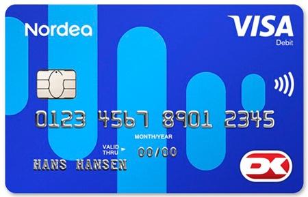 右下のDKというロゴがデンマーク国内専用デビットカード「Dankort」。右側の中心がタッチ決済対応マーク(出典:Nordea Denmark)