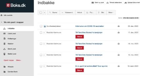 電子私書箱 e-Boksをパソコンで開いた画面。アプリ形式になっており、国や市からのメールが届く(写真提供:針貝有佳)