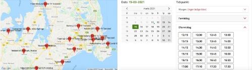 地図検索を使い、希望する検査所の予約を好きな日時で取ることができる(写真提供:針貝有佳)