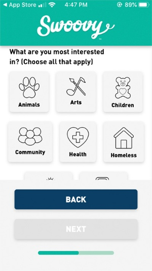 アプリ登録画面で、ボランティアの興味分野を聞かれる