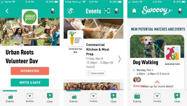 持続可能な農業に取り組む「Urban Roots Austin」のプログラム(左)、食糧に充分にアクセスできない人々への食糧分配を行う慈善団体「Central Texas Food Bank」の活動サポート(中)、動物保護団体「Austin Animal Center」の犬のサポートプログラム(右)