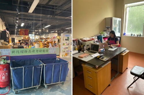 ラウンドアバウト基金店内の様子(左)と事務局長文丽氏のオフィス(右)(写真提供:Layman Fumiyo)