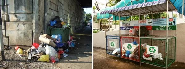 クアラルンプール市内のごみ捨て場(左)。収集日は決まっているが、分別されていないことも多い。集合住宅などに設けられた資源回収用のスペース(右)。紙類・プラスチック・その他に分けられている(写真提供:森 純)