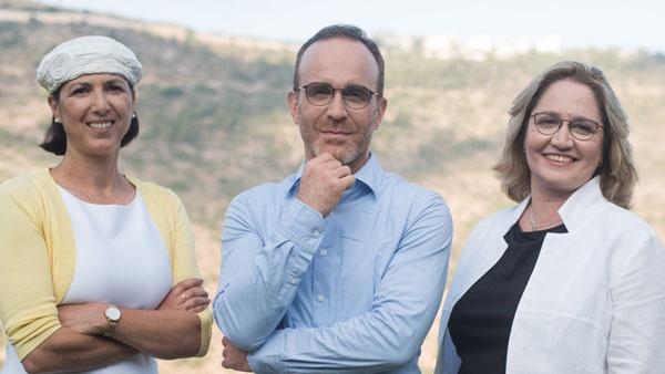 Aleph Farmsのリーダーシップチーム。左から技術リーダーのShulamit Levenberg氏、CEOのDidier Toubia氏、シェフテクノロジーリーダーのDr. Neta Lavon氏(写真提供:Aleph Farms)