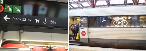 長距離列車内の表示。犬・車椅子・自転車を持ち込める車両がある(左)。長距離列車の外観。自転車を持ち込める車両が一目でわかる(右)