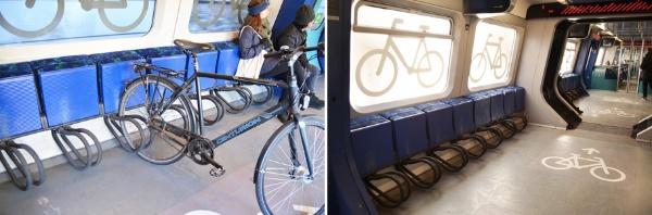 コペンハーゲン近郊を走る近距離電車(S-tog)車内の自転車置き場。自転車優先で、折りたたみ式の席を倒して座ることもできる