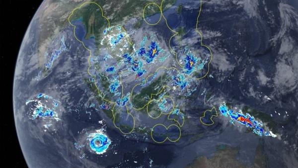 衛星画像から生成された仮想の雨雲レーダー画像(イメージ)(出典:ウェザーニューズのニュースリリース)