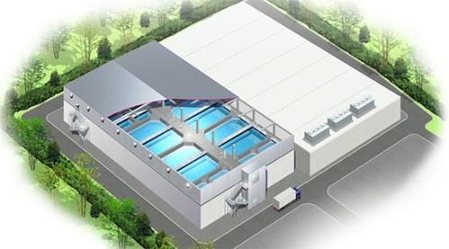 (図2)FPDジャパンが建設を進めている閉鎖循環式陸上養殖プラントの完成予想図(三井物産のホームページより引用)