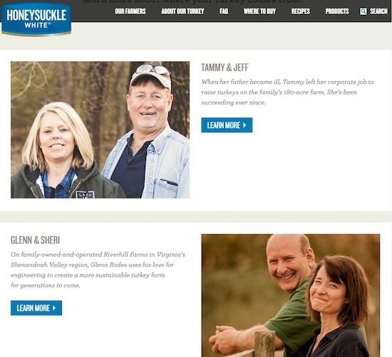 (図2)Cargillが運営するHoneysuckleWhiteブランドのホームページには七面鳥を育てる農家のストーリーが掲載されている