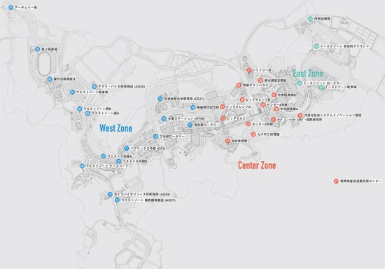 (図1)伊都キャンパスで利用できるオンデマンド移動システムの利用ポイントは、敷地外も含めて37カ所に渡る(提供:九州大学広報室)