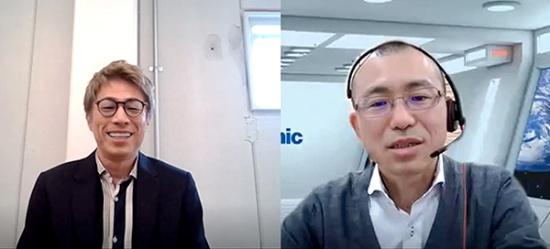 パナソニック環境経営推進部の石橋健作さん(右)。当日は、東京にいる田村さんと、大阪の石橋さんがリモートで対談した
