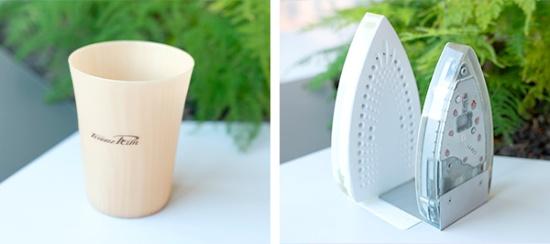 アサヒビールと共同開発したセルロースファイバー複合プラスチックのリユースカップ(左)と、アイロンを再利用したブックエンド(右)