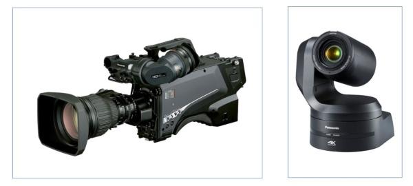 パナソニックがOBSおよび一部の放映権局に対して供給した機材の一例。スタジオカメラの「AK-UC4000」(左)とリモートカメラの「AW-UE150K」(右)。今回の東京オリンピックではカメラ制御にはIPベースの機能を活用した。今後、4K制作・伝送でより広汎なIP技術の活用が期待される(写真提供:パナソニック)
